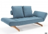 CANAPE LIT DESIGN SCANDINAVE AVEC PIETEMENT EN BOIS DE CHENE - TEXTILE OU SIMILI CUIR 3 COULEURS GHIA WOOD - INNOVATION LIVING