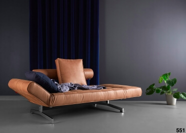 CANAPE DESIGN CONVERTIBLE EN LIT 80x210 EN TEXTILE OU SIMILI CUIR ET PIEDS CHROMES GHIA CHROME - INNOVATION LIVING
