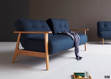 CANAPE CONVERTIBLE BLEU OU TAUPE ET ACCOUDOIRS CHENE AMPLE FREJ - INNOVATION LIVING