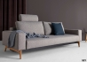 CANAPE 3 PLACES CONVERTIBLE EN LIT 140x200 GRIS AVEC PIETEMENT EN CHENE IDUN PAR INNOVATION LIVING