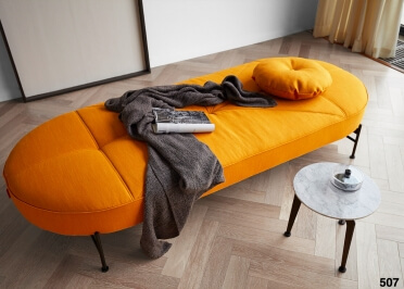 BANQUETTE MERIDIENNE DESIGN JAUNE CURRY OU ECRU 200x80 LINNA PAR INNOVATION LIVING