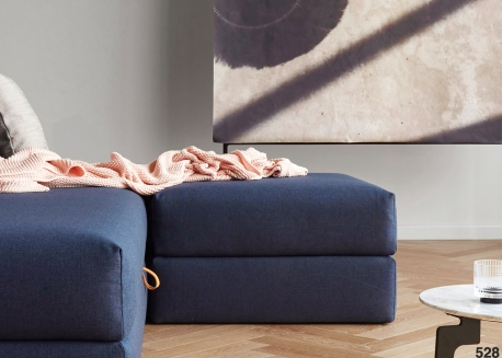 POUF DESIGN FORMANT UN COFFRE DE RANGEMENT - BLEU OU GRIS - CORNILA PAR INNOVATION LIVING