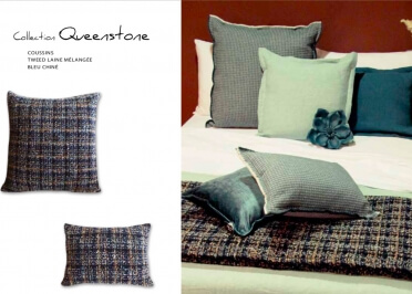 COUSSIN DECORATIF EN LAINE TWEED BLEU CHINE 35x50 OU 65x65 - QUEENSTONE - ANGEL DES MONTAGNES