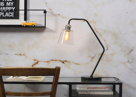 LAMPE DE TABLE EN VERRE MARBRE ET METAL NOIR OU BLANC PARIS - ITS ABOUT ROMI