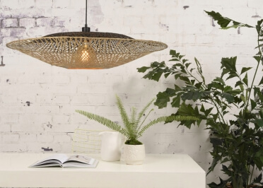SUSPENSION ORIGINALE EN BAMBOU NATUREL ET NOIR FORME SPHERIQUE Ø 60 OU 85 CM - KALIMANTAN PAR GOOD&MOJO