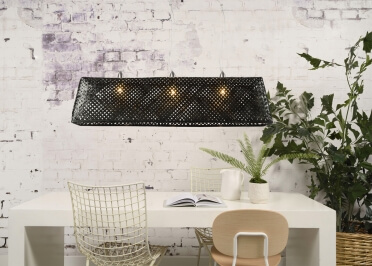SUSPENSION ORIGINALE EN BAMBOU NATUREL ET NOIR FORME SPHERIQUE Ø 60 OU 85 CM - KOMODO PAR GOOD&MOJO