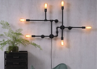APPLIQUE MURALE ORIGINALE EN FORME DE TUYAU DESIGN INDUSTRIEL 6 LAMPES NASHVILLE - ITS ABOUT ROMI