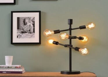 LAMPE A POSER METAL NOIR DESIGN URBAIN 6 ECLAIRAGES ORIENTABLES - NASHVILLE ITS ABOUT ROMI