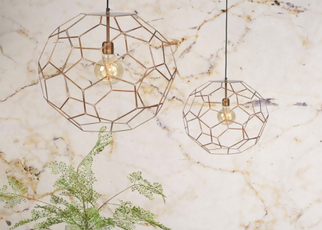 SUSPENSION ORIGINALE EN FIL DE METAL CUIVRE FORME MOSAIQUE 2 TAILLES MARRAKECH - ITS ABOUT ROMY