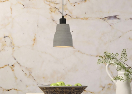 SUSPENSION EN POLYSTONE GRIS CLAIR AVEC 1 3 7 OU 12 ABAT-JOUR CADIZ - ITS ABOUT ROMY