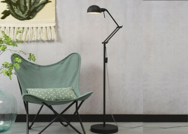 LAMPADAIRE ARTICULE DESIGN INDUSTRIEL EN METAL NOIR GLASGOW - ITS ABOUT ROMI