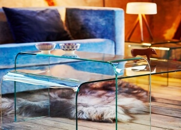 TABLE DE SALON DESIGN EN VERRE TRANSPARENT ET BORD ARRONDIS - L 80 ou 120 CM - BOW PAR JANKURTZ