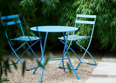 TABLE DE JARDIN PLIABLE EN ACIER LAQUE BLANC NOIR TAUPE OU BLEU - RONDE CARREE OU RECTANGLE - FIAM SIRIO PAR JANKURTZ