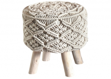 TABOURET ORIGINAL ET TENDANCE EN CROCHET IVOIRE - RAINEF PAR THE RUG REPUBLIC