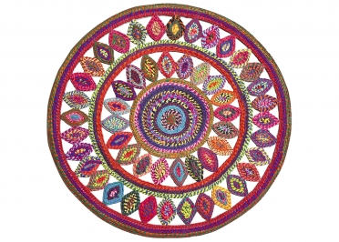 TAPIS ROND MULTICOLORE EN COTON RECYCLE - D 90 OU 120 CM - BOWEY PAR THE RUG REPUBLIC