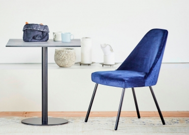 CHAISE DESIGN EN METAL ET VELOURS BLEU TURQUOISE OU BLEU ROI - FLAMINIA HIGH BACK STEEL PAR JANKURTZ