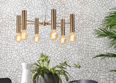 SUSPENSION DESIGN RETRO CHIC AVEC 3 OU 6 ABAT-jOUR TUBULAIRE EN METAL DORE - CANNES PAR IT'S ABOUT ROMI