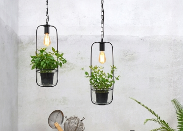 SUSPENSION ET JARDINIERE 2 EN 1 DESIGN ORIGINAL EN VERRE ET METAL NOIR OU BLANC - FLORENCE PAR IT'S ABOUT ROMI