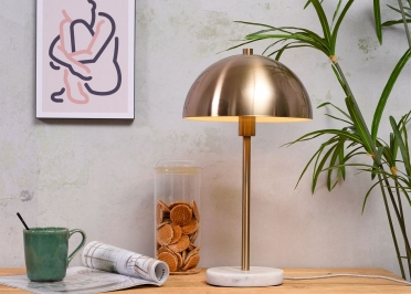 LAMPE A POSER EN METAL DORE FORME SPHERIQUE ET BASE EN MARBRE BLANC - TOULOUSE PAR IT'S ABOUT ROMI