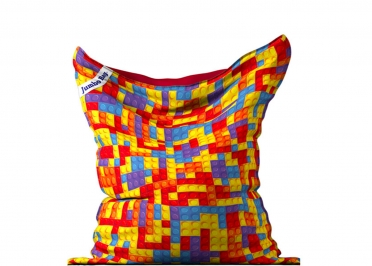 COUSSIN DE SOL GEANT MOTIF BRIQUES DE JEU MULTICOLORE - THE PRINTED BAG BRICKS- JUMBO BAG