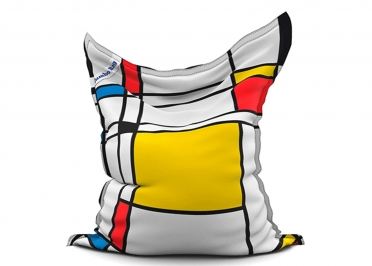 POUF GEANT MOTIF GRAPHIQUE ROUGE JAUNE BLEU NOIR - THE PRINTED BAG MONDRIAN SQUARE- JUMBO BAG