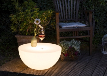 TABLE BASSE LUMINEUSE EXTERIEUR INTERIEUR Ø50 OU 60 CM - ECLAIRAGE ECO LED OU SOLAIRE - SHINING TABLE TOP - 8 SEASONS DESIGN