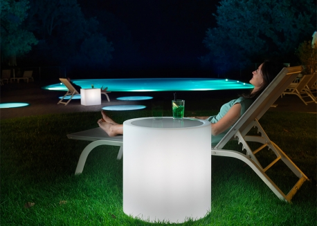 TABLE D'APPOINT LUMINEUSE RONDE OU CARREE - ECLAIRAGE LED NOMADE - HOME FITTING PAR LYXO