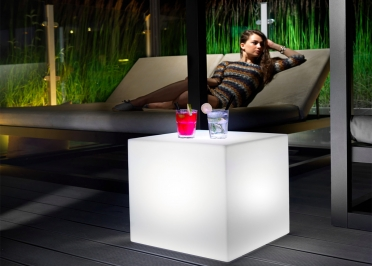 POUF LUMINEUX CUBIQUE OU TABLE D'APPOINT 40x40 OU 45x45 - HOME FITTING POUF PAR LYXO