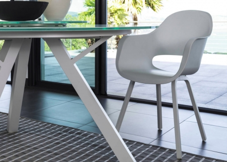CHAISE DE TABLE DESIGN ET CONFORTABLE BLANCHE CIRCLE PAR TALENTI