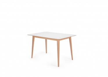 TABLE DE REPAS DESIGN SCANDINAVE EN HETRE ET MDF LAQUE BLANC L 120 OU 160 CM - NORFOLK PAR GARAGEIGHT
