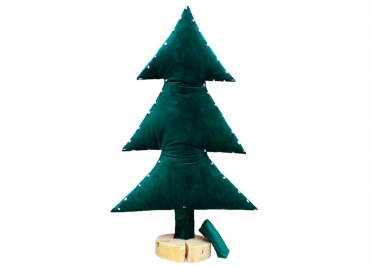 SAPIN DE NOEL DECORATIF EN VELOURS UNI ROUGE OU VERT - GUIRLANDE LED INTEGRE H 70 OU 150 CM - MX HOME